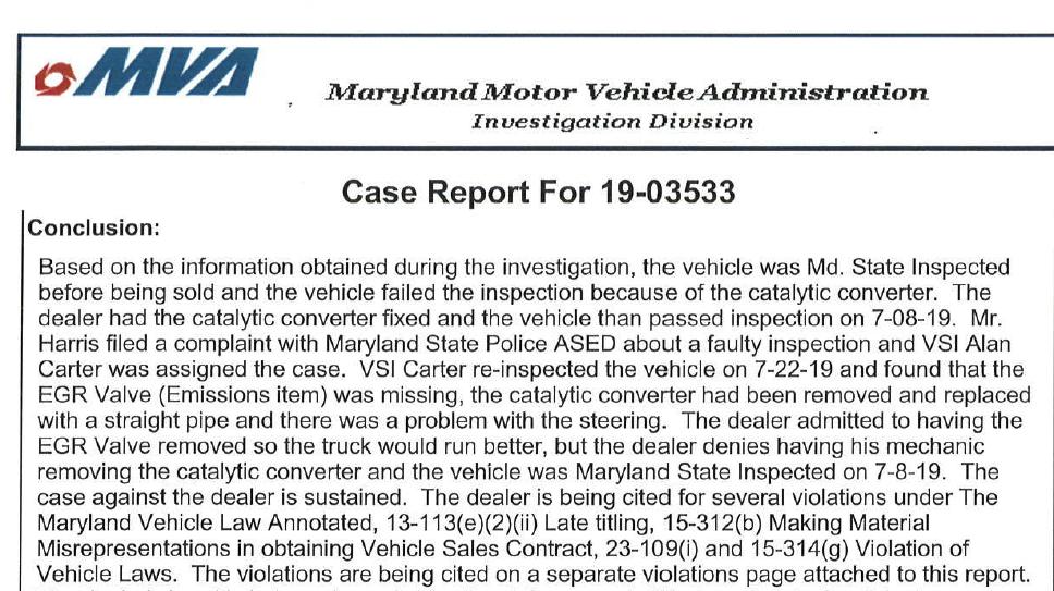 MVA cited Prime Autos for Misrepresentations
